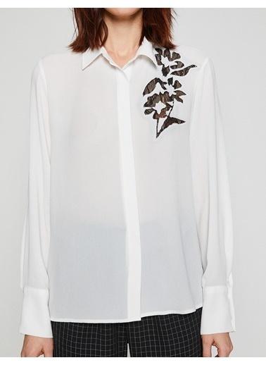 Uzun Kollu İşlemeli Gömlek-Koton